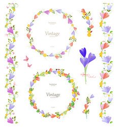 Spring floral collection with crocus elegante set vector