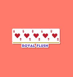 Paper sticker on stylish background poker royal vector