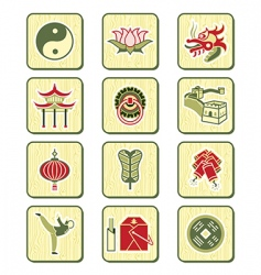 Chinese icons  bamboo series vector image