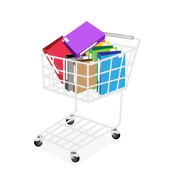 Seven colors of office folder in shopping cart vector