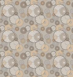 Seamless pattern with clocks and cog wheels vector
