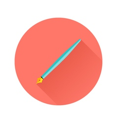 Pen flat circle icon vector