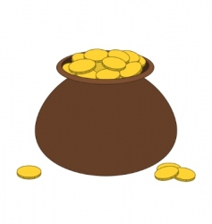 Brown clay pot with gold vector