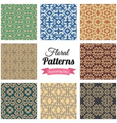 Abstract seamless floral patterns set vector image