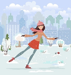 Cute girl skating in city park vector