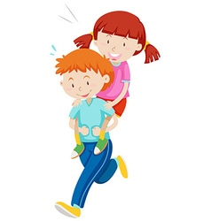 Children playing piggy back ride vector