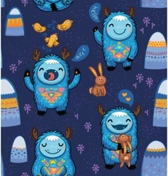 Seamless pattern with cute cartoon monsters vector