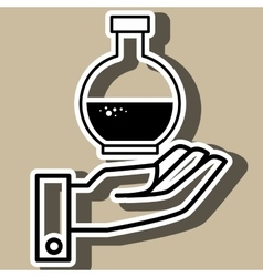 Hand and laboratory tube isolated icon design vector