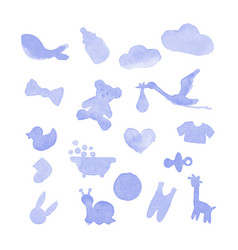 Baby stuff watercolor design elements vector