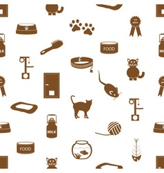 cats pets items simple icons seamless pattern vector image vector image