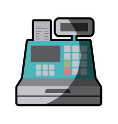 Color silhouette with cash register with half vector