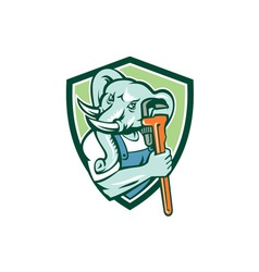 Elephant plumber mascot monkey wrench shield retro vector