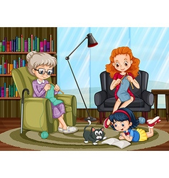 Family members enjoying freetime together vector