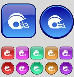 football helmet icon sign A set of twelve vintage vector image vector image