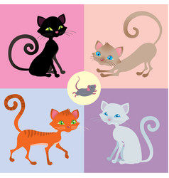 Four cats and one mouse set vector