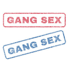 Gang sex textile stamps vector