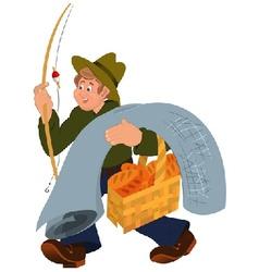 Happy cartoon man walking with fishing rod vector