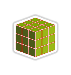 In paper sticker style rubik vector