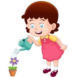 little girl watering flower vector image vector image