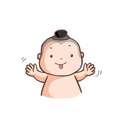 Little thai boy make a wry face vector