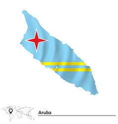 Map of Aruba with flag vector image