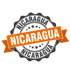 Nicaragua round ribbon seal vector