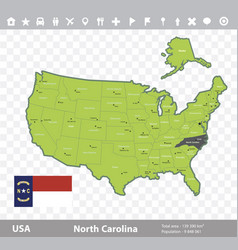 north carolina flag and map vector image vector image