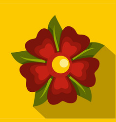 Red abstract flower icon flat style vector