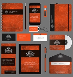 Red corporate identity template design with thin vector