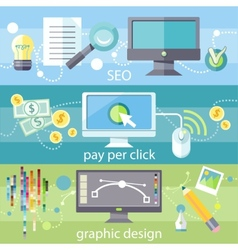SEO pay per click and graphic design vector image vector image