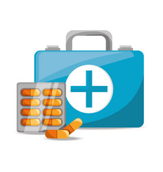 Suitcase with pills medical emergency vector