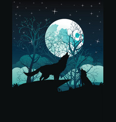 wolf howling in the night forest vector image