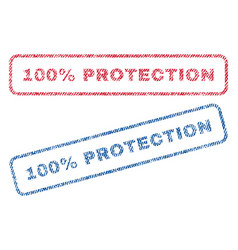 100 percent protection textile stamps vector
