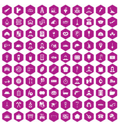 100 working professions icons hexagon violet vector