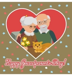 Happy senior man woman family with cat greeting vector