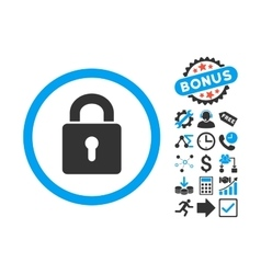 Lock keyhole flat icon with bonus vector