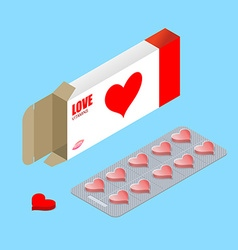 Love pills in pack lover vitamins tablets in box vector