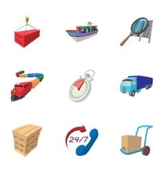Shipment icons set cartoon style vector