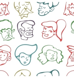 Seamless pattern with human faces vector