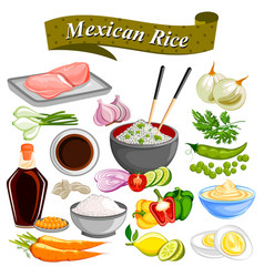 Food and spice ingredient for mexican rice bowl vector