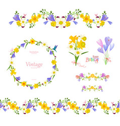 Spring floral collection seamless border and cute vector