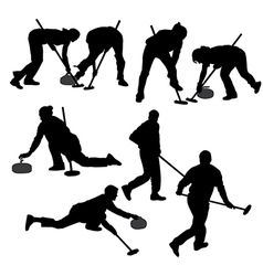 Curling game silhouette vector