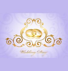 Wedding invitation floral purple vector
