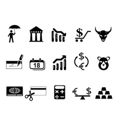 black bank and finance icons set vector image