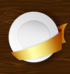 Dish with gold ribbon vector