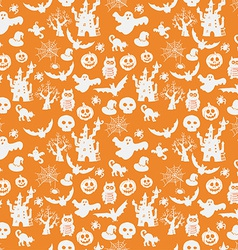 Halloween seamless pattern on an orange background vector