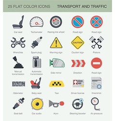 Flat car color icons vector