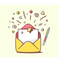 Opened yellow envelope with pen and stars vector