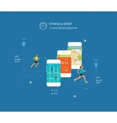 Mobile phone - fitness app concept on vector