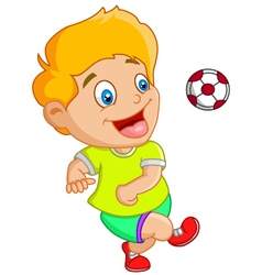 Little kid playing football soccer vector